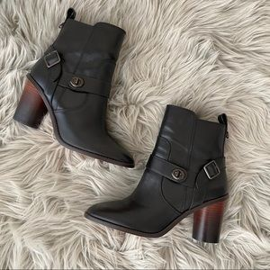 coach • black leather heeled moto booties 8.5